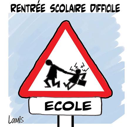 Rentrée scolaire difficile - Dessins et Caricatures, Lounis Le jour d'Algérie - Gagdz.com
