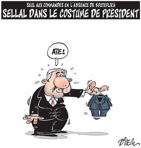 Sellal dans le costume du président - Dessins et Caricatures, Dilem - Liberté - Gagdz.com