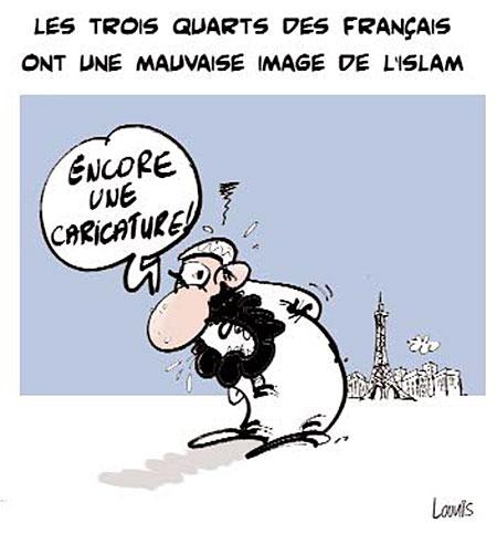 Les trois quarts des français ont une mauvaise image de l'islam - Dessins et Caricatures, Lounis Le jour d'Algérie - Gagdz.com