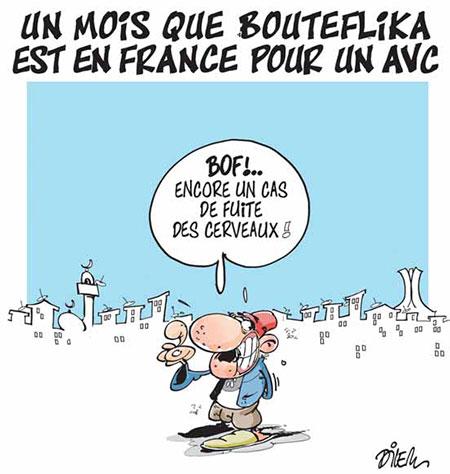 Un mois que Bouteflika est en France pour un avc - Dessins et Caricatures, Dilem - Liberté - Gagdz.com