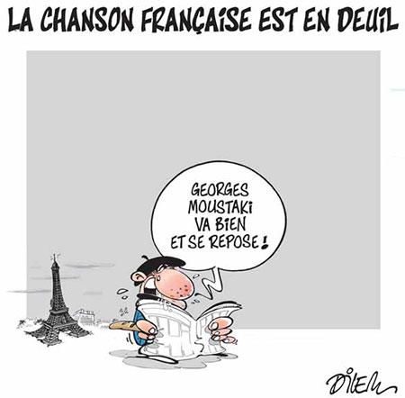 La chanson française est en deuil - Dessins et Caricatures, Dilem - Liberté - Gagdz.com