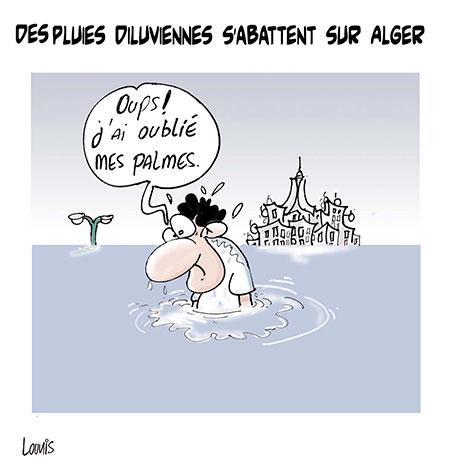 Des pluies diluviennes s'abattent sur Alger - Dessins et Caricatures, Lounis Le jour d'Algérie - Gagdz.com