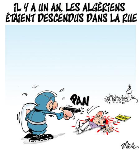Il y a un an les algériens étaient descendus dans la rue - Dessins et Caricatures, Dilem - Liberté - Gagdz.com