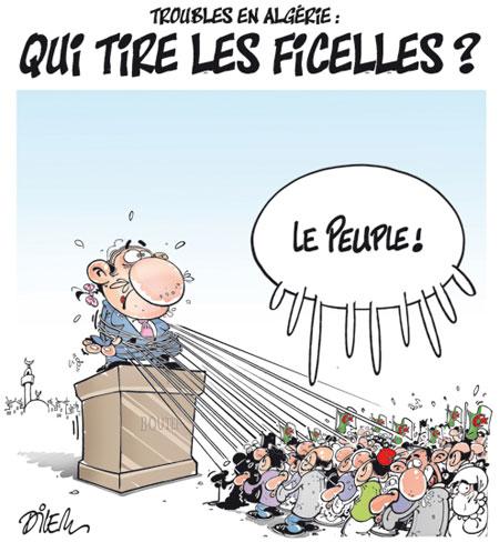 Troubles en Algérie: Qui tire les ficelles ? - Dessins et Caricatures, Dilem - Liberté - Gagdz.com