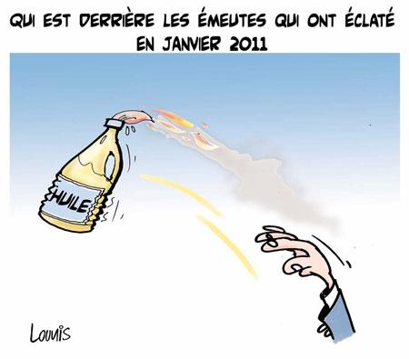 Qui est derrière les émeutes qui ont éclatés en janvier 2011 - Dessins et Caricatures, Lounis Le jour d'Algérie - Gagdz.com