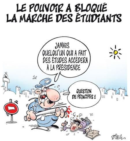 Le pouvoir a bloqué la marche des étudiants - Dessins et Caricatures, Dilem - Liberté - Gagdz.com