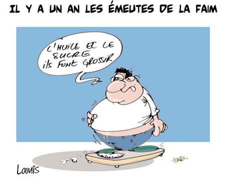 Il y a un an les émeutes de la faim - Dessins et Caricatures, Lounis Le jour d'Algérie - Gagdz.com