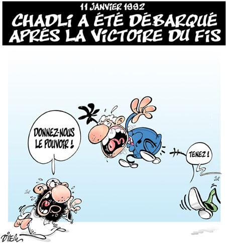 11 janvier 1992: Chadli a été débarqué après la victoire du fis - Dessins et Caricatures, Dilem - Liberté - Gagdz.com