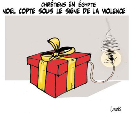 Chrétiens en Egypte: Noel copte sous le signe de la violence - Dessins et Caricatures, Lounis Le jour d'Algérie - Gagdz.com