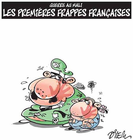 Guerre au Mali: Les premières frappes françaises - Dessins et Caricatures, Dilem - Liberté - Gagdz.com