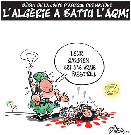 Début de la coupe d'afrique des nations: L'Algérie a battu l'aqmi - Dessins et Caricatures, Dilem - Liberté - Gagdz.com