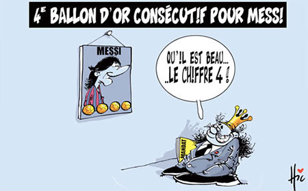 4e ballon d'or consécutif pour Messi - Dessins et Caricatures, Le Hic - El Watan - Gagdz.com