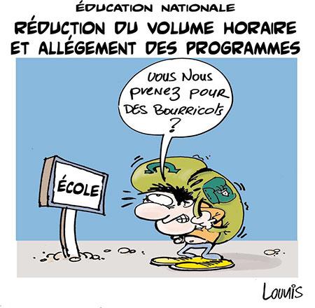 Education nationale: Réduction du volume horaire et allégement des programmes - Dessins et Caricatures, Lounis Le jour d'Algérie - Gagdz.com