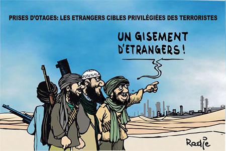 Prises d'otages: Les étrangers cibles privilégiées des térroristes - Dessins et Caricatures, Ghir Hak - Les Débats - Gagdz.com