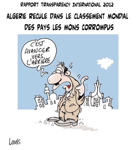 Rapport transparency international 2012: L'Algérie recule dans le classement mondial des pays les moins corrompus - Dessins et Caricatures, Lounis Le jour d'Algérie - Gagdz.com