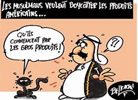 Les musulmans veulent boycotter les produits américains - Belkacem - Le Courrier d'Algérie, Dessins et Caricatures - Gagdz.com