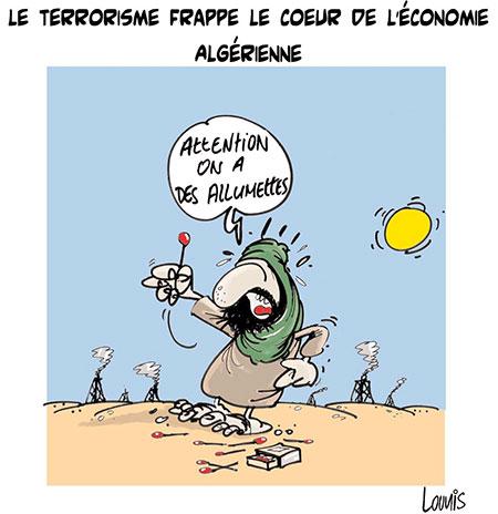 Le terrorisme frappe le coeur de l'économie algérienne - Dessins et Caricatures, Lounis Le jour d'Algérie - Gagdz.com