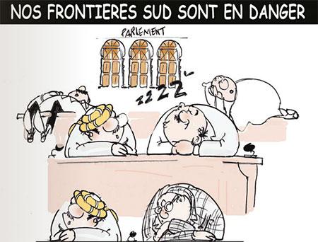 Nos frontières sud sont en danger - Dessins et Caricatures, Jony-Mar - La voix de l'Oranie - Gagdz.com