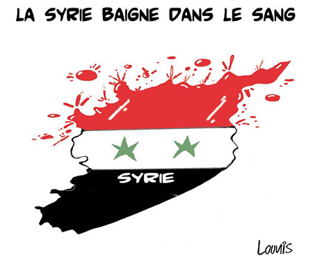 La Syrie baigne dans le sang - Dessins et Caricatures, Lounis Le jour d'Algérie - Gagdz.com