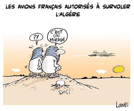 Les avions français autorisés à survoler l'Algérie - Dessins et Caricatures, Lounis Le jour d'Algérie - Gagdz.com