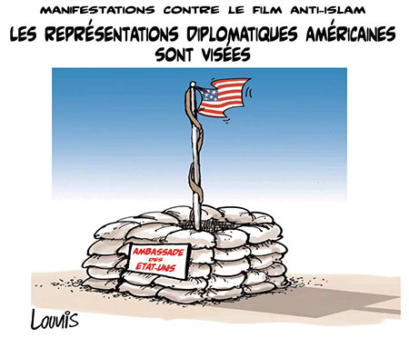 Manifestations contre le film anti-islam: Les représentations diplomatiques américaines sont visées - Dessins et Caricatures, Lounis Le jour d'Algérie - Gagdz.com