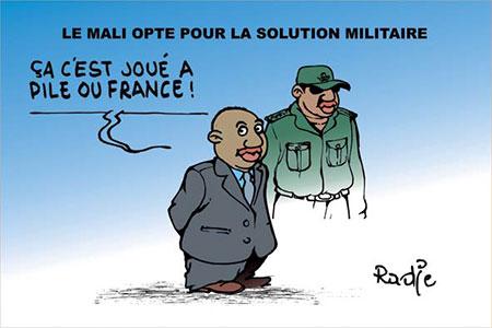 Le Mali opte pour la solution militaire - Dessins et Caricatures, Ghir Hak - Les Débats - Gagdz.com