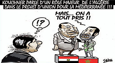 Kouchner parle d'un role majeur de l'Algérie dans le projet d'union pour la méditeranée - Dessins et Caricatures, Sidou - Gagdz.com