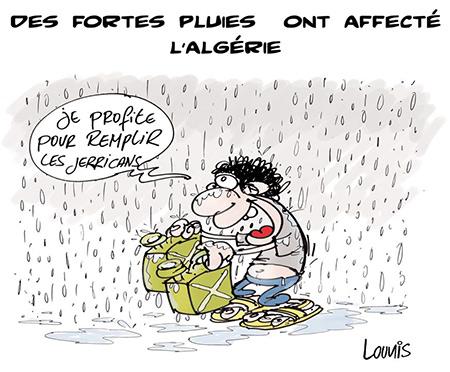 De fortes pluies ont affecté l'Algérie - Dessins et Caricatures, Lounis Le jour d'Algérie - Gagdz.com