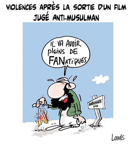 Violences après la sortie d'un film jugé anti-musulman - Dessins et Caricatures, Lounis Le jour d'Algérie - Gagdz.com