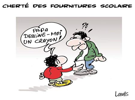 Cherté des fournitures scolaires - Dessins et Caricatures, Lounis Le jour d'Algérie - Gagdz.com