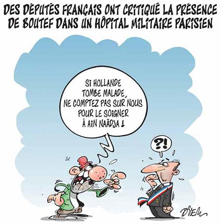 Des députés français ont critiqué la présence de Boutef dans un hôpital militaire parisien - Dessins et Caricatures, Dilem - Liberté - Gagdz.com