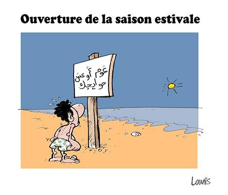 Ouverture de la saision estivale - Dessins et Caricatures, Lounis Le jour d'Algérie - Gagdz.com