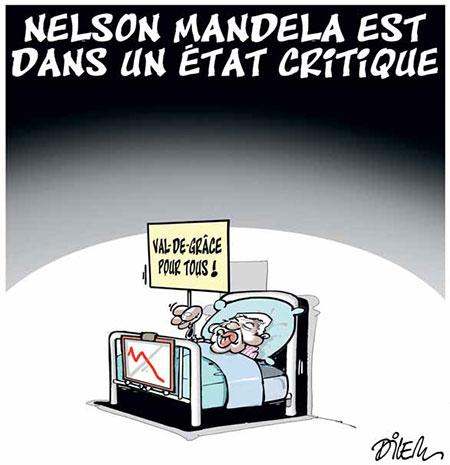 Nelson Mandela est dans un état critique - Dessins et Caricatures, Dilem - Liberté - Gagdz.com