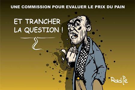 Une commission pour évaluer le prix du pain - Dessins et Caricatures, Ghir Hak - Les Débats - Gagdz.com