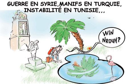 Guerre en Syrie, manifs en Turquie, instabilité en Tunisie