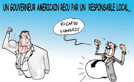 Un gouverneur américain reçu par un responsable local - Dessins et Caricatures, Jony-Mar - La voix de l'Oranie - Gagdz.com