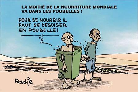 La moitié de la nouriture mondiale va dans les poubelles - Dessins et Caricatures, Ghir Hak - Les Débats - Gagdz.com