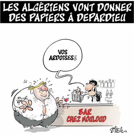Les Algériens vont donner des papiers à Depardieu - Dessins et Caricatures, Dilem - Liberté - Gagdz.com