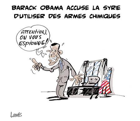 Barack Obama accuse la Syrie d'utiliser des armes chimiques - Dessins et Caricatures, Lounis Le jour d'Algérie - Gagdz.com