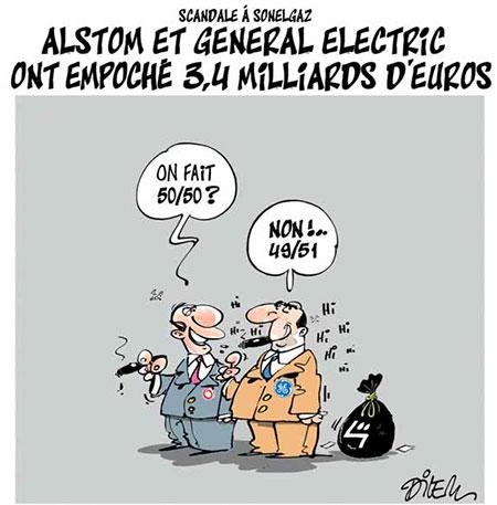 Alstom et general electric ont empoché 3,4 milliards d'euro - Dessins et Caricatures, Dilem - Liberté - Gagdz.com