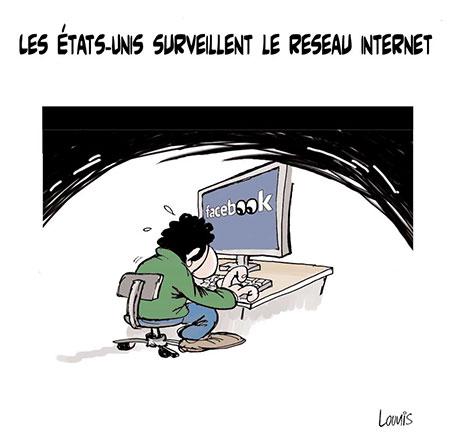 Les Etats Unis surveillent le reseau internet - Dessins et Caricatures, Lounis Le jour d'Algérie - Gagdz.com