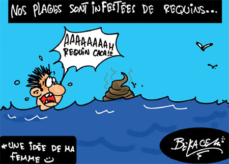 Nos plages sont infetstées de requins - Belkacem - Le Courrier d'Algérie, Dessins et Caricatures - Gagdz.com