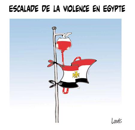 Escalade de violence en Egypte - Dessins et Caricatures, Lounis Le jour d'Algérie - Gagdz.com
