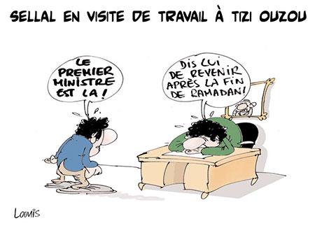 Sellal en visite de travail à Tizi Ouzou - Dessins et Caricatures, Lounis Le jour d'Algérie - Gagdz.com