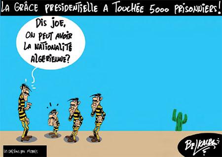La grâce présidentielle a touchée 5000 prisonniers - Belkacem - Le Courrier d'Algérie, Dessins et Caricatures - Gagdz.com