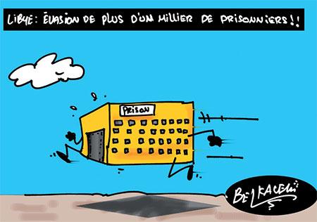 Libye: Evasion de plus d'un milier de prisonniers - Belkacem - Le Courrier d'Algérie, Dessins et Caricatures - Gagdz.com
