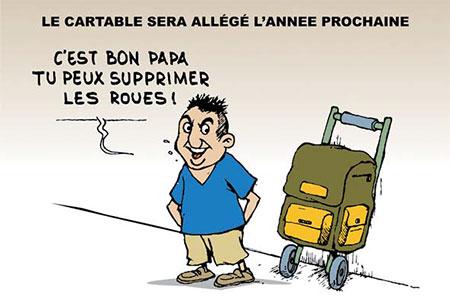 Le cartable sera allégé l'année prochaine - Dessins et Caricatures, Ghir Hak - Les Débats - Gagdz.com
