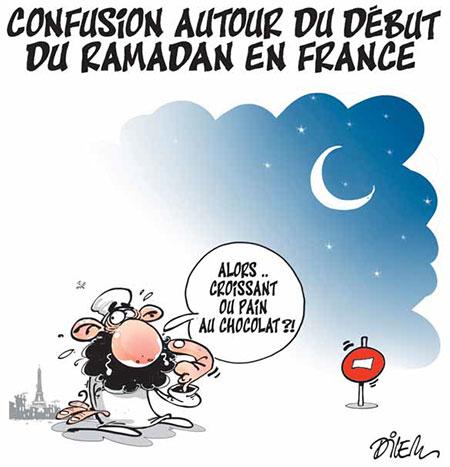 Confusion autour du début du ramadan en France - Dessins et Caricatures, Dilem - Liberté - Gagdz.com