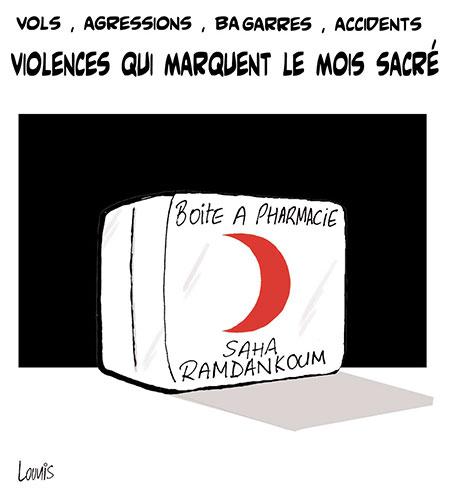 Violences qui marquent le mois sacré - Dessins et Caricatures, Lounis Le jour d'Algérie - Gagdz.com