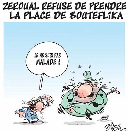 Zeroual refuse de prendre la place de Bouteflika - Dessins et Caricatures, Dilem - Liberté - Gagdz.com